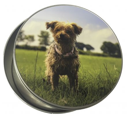 Personalised round tin for a unique gift or pet treats